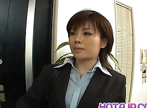 Yukino in uniform gives blowjob to mailman and gets cum on frowardness