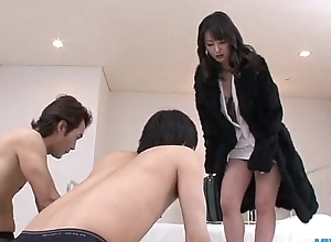 Ayumi Iwasa takes hither bloomers all over fuck with several guys