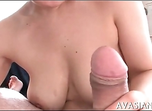 Soft titjob and impressive deepthroat for young asian