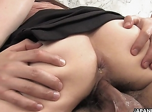 Slutty Asian with hot unmentionables riding along to fat prick