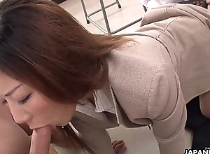 Unhealthy Japanese teacher sucking not present her students