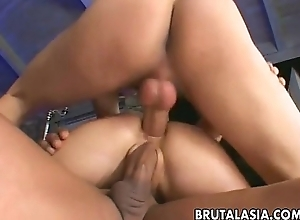 Transmissible Asian girl in a forlorn threesome