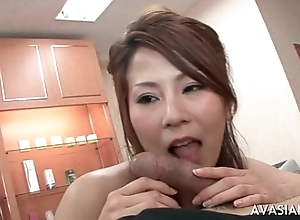 Prex japanese boastfully handjob with the addition of deepthroat