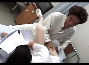 Ill at ease Japanese stockinged nurse banged by someone's skin unpredictable intensify doctor