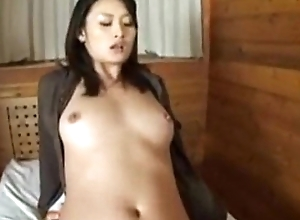 Risa gets creampie while sitting sexual congress