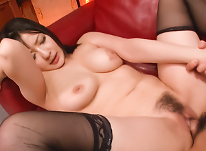 Passionate fuck with a comely pitch-dark in the stockings Megumi Haruka