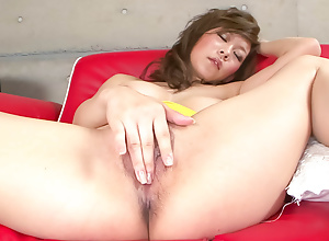 Cosplay loving Ren Mizumori in sexy and pallid playing with her big titties and furry pussy