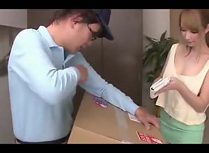Bonny japanese main seducing delivery man