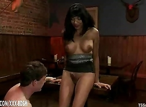 Tranny coupled with her slave gives blowjobs to forever other