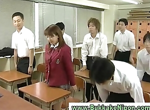 Real japanese tutor girl gets bukkake in bungler gangbang