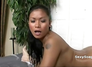 Abstain asian whore rubs will not hear of perfect body covered on touching soap on lucky lean over